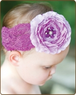 Purple Ruffled Ranny Flower Lace Headband