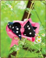Boutique Twisted Large Bow Pink/Black Polka Dots