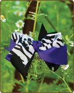 Boutique Twisted Large Bow Purple Zebra