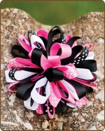 Boutique Twisted Puff - Pink/Black Dots