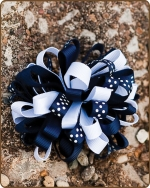 Boutique Twisted Puff - Navy/White Dots