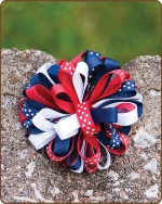 Boutique Twisted Puff - Red/White/Blue Dots