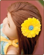 Daisy Flower Clippie Mini Yellow/Turquoise