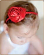 Satin Rose Clippie or Headband Red Large