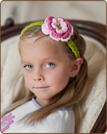 Pink/Green Flower Crochet Headband