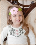 Light Pink/Green Flower Crochet Headband