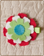 Felt Clippie - Red/White/Green/TurquoiseFlower
