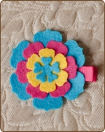 Felt Clippie - Turquoise/Hot Pink/Yellow Flower
