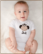 Boy Monkey White Bodysuit
