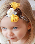 Brown/Yellow/Cream Rolled Roses on Chevron Headband