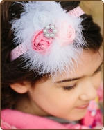 Pink/White Rolled Roses on Chevron Headband