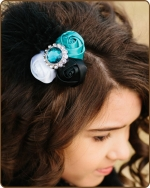 Turquoise/Black Rolled Satin Roses Hair Clip