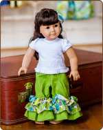 Doll Ruffled Pants - Green/Blue