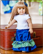 Doll Ruffled Pants - Blue/Green