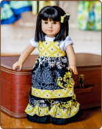 Doll Tie Back Dress - Yellow/Black