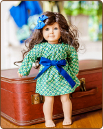 Doll Peasant Sleeve Dress - Blue/Green