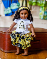 Doll Ruffled Skirt and/or Embroidered Shirt - Yellow/Black