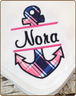 Pink Navy Anchor Blanket