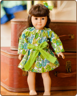 Doll Peasant Sleeve Dress - Green/Blue