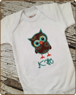 Brown Owl White Bodysuit
