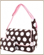 Quilted Super Jumbo Dots Messenger Diaper Bag Brown/Pink