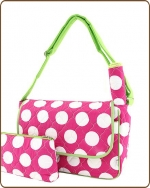 Quilted Super Jumbo Dots Messenger Diaper Bag Fuchsia/Lime
