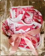 Pink Camo Knit Layette Gift set