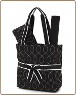 Quilted Wave Stitched 3Pc Diaper Bag Black/White