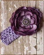 Plum/Light Purple Crochet Headbands 2.5 inch