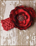 Red Crochet Headbands 2.5 inch