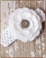 White Crochet Headbands 2.5 inch