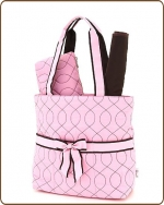 Quilted Wave Stitched 3Pc Diaper Bag Pink/Brown