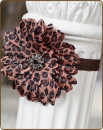 Brown Leopard Flower Fold Over Elastic Headband