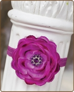 Fuchsia Flower Fold Over Elastic Headband