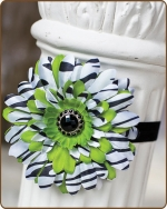 Green Zebra Flower Fold Over Elastic Headband
