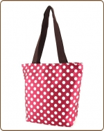 Polka Dots Print Tote Bag Burgundy/White