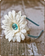 Blue/Cream Flower Satin Lined Metal Headband