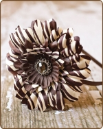 Brown Zebra/Chocolate Flower Satin Lined Metal Headband