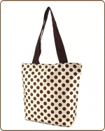 Polka Dots Print Tote Bag Gold/Brown