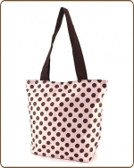 Polka Dots Print Tote Bag Pink/Brown