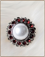 Amelia Filigree Ring in Red