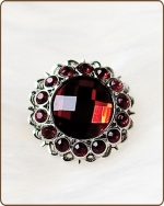 Kayli Filigree Ring in Ruby Red