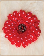 Daisy Flower Clippie Red Polka Dot
