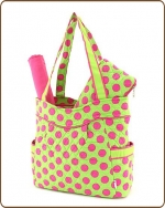 Quilted Large Polka Dots 3Pc End Pockets Diaper Bag Lime/Fuchsia