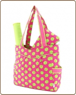 Quilted Large Polka Dots 3Pc End Pockets Diaper Bag Fuchsia/Lime