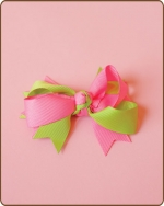 Boutique Twisted Bow Apple/Hot Pink