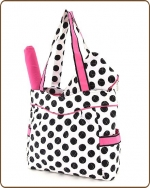 Quilted Large Polka Dots 3Pc End Pockets Diaper Bag White/Black/Pink