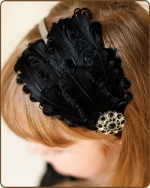 Black/Grey Feather Headband