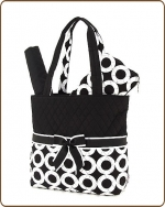 Quilted Large Circle Print 3Pc Diaper Bag Black/White