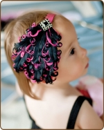 Black/Hot Pink Feather Headband